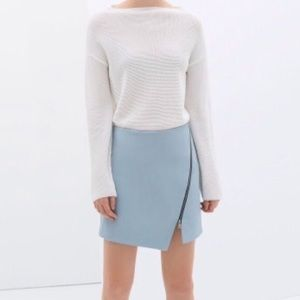 Baby Blue Faux Leather Skirt With Zipper